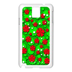 Xmas flowers Samsung Galaxy Note 3 N9005 Case (White)
