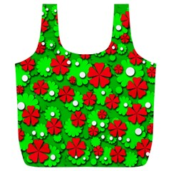 Xmas flowers Full Print Recycle Bags (L)