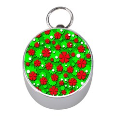 Xmas flowers Mini Silver Compasses