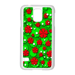 Xmas flowers Samsung Galaxy S5 Case (White)