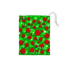 Xmas flowers Drawstring Pouches (Small)