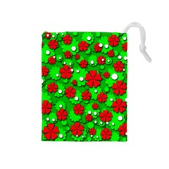 Xmas flowers Drawstring Pouches (Medium)