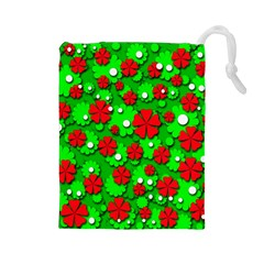 Xmas flowers Drawstring Pouches (Large)