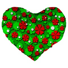Xmas flowers Large 19  Premium Flano Heart Shape Cushions