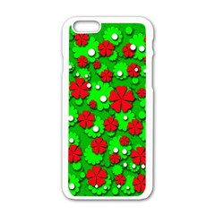 Xmas flowers Apple iPhone 6/6S White Enamel Case