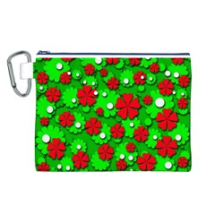 Xmas flowers Canvas Cosmetic Bag (L)