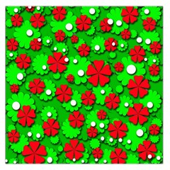 Xmas flowers Large Satin Scarf (Square)