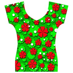 Xmas flowers Women s V-Neck Cap Sleeve Top