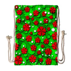 Xmas flowers Drawstring Bag (Large)