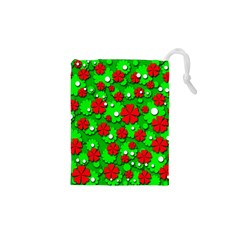 Xmas flowers Drawstring Pouches (XS)