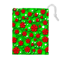 Xmas flowers Drawstring Pouches (Extra Large)