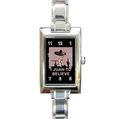 I Juan To Believe Ugly Holiday Christmas Black Background Rectangle Italian Charm Watch