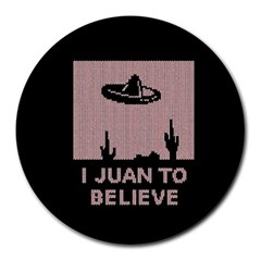I Juan To Believe Ugly Holiday Christmas Black Background Round Mousepads