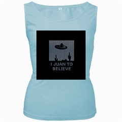 I Juan To Believe Ugly Holiday Christmas Black Background Women s Baby Blue Tank Top