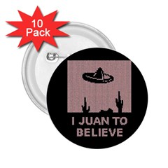 I Juan To Believe Ugly Holiday Christmas Black Background 2.25  Buttons (10 pack)