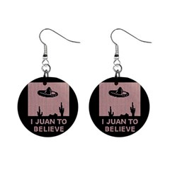 I Juan To Believe Ugly Holiday Christmas Black Background Mini Button Earrings