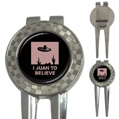 I Juan To Believe Ugly Holiday Christmas Black Background 3-in-1 Golf Divots