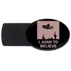 I Juan To Believe Ugly Holiday Christmas Black Background USB Flash Drive Oval (2 GB)