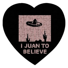 I Juan To Believe Ugly Holiday Christmas Black Background Jigsaw Puzzle (Heart)