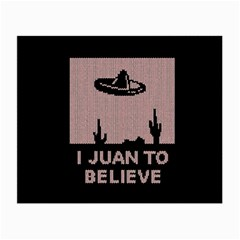 I Juan To Believe Ugly Holiday Christmas Black Background Small Glasses Cloth