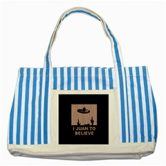 I Juan To Believe Ugly Holiday Christmas Black Background Striped Blue Tote Bag