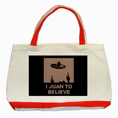 I Juan To Believe Ugly Holiday Christmas Black Background Classic Tote Bag (Red)