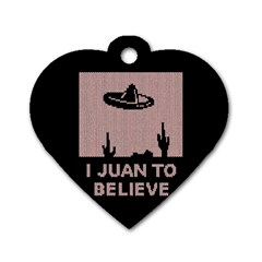 I Juan To Believe Ugly Holiday Christmas Black Background Dog Tag Heart (Two Sides)