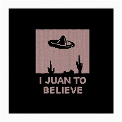 I Juan To Believe Ugly Holiday Christmas Black Background Medium Glasses Cloth