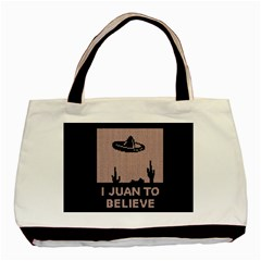 I Juan To Believe Ugly Holiday Christmas Black Background Basic Tote Bag (Two Sides)