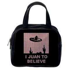 I Juan To Believe Ugly Holiday Christmas Black Background Classic Handbags (One Side)