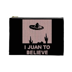 I Juan To Believe Ugly Holiday Christmas Black Background Cosmetic Bag (Large)