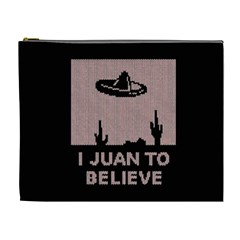 I Juan To Believe Ugly Holiday Christmas Black Background Cosmetic Bag (XL)