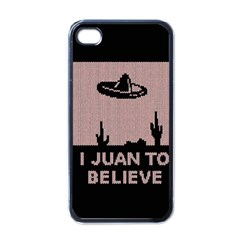 I Juan To Believe Ugly Holiday Christmas Black Background Apple iPhone 4 Case (Black)