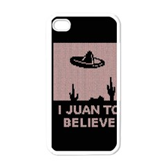 I Juan To Believe Ugly Holiday Christmas Black Background Apple Iphone 4 Case (white)