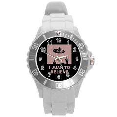 I Juan To Believe Ugly Holiday Christmas Black Background Round Plastic Sport Watch (L)