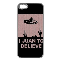 I Juan To Believe Ugly Holiday Christmas Black Background Apple iPhone 5 Case (Silver)