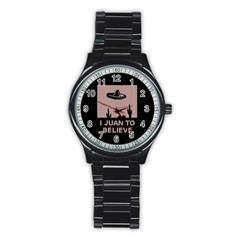 I Juan To Believe Ugly Holiday Christmas Black Background Stainless Steel Round Watch