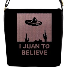 I Juan To Believe Ugly Holiday Christmas Black Background Flap Messenger Bag (s)