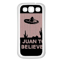 I Juan To Believe Ugly Holiday Christmas Black Background Samsung Galaxy S3 Back Case (White)
