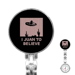 I Juan To Believe Ugly Holiday Christmas Black Background Stainless Steel Nurses Watch