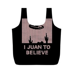 I Juan To Believe Ugly Holiday Christmas Black Background Full Print Recycle Bags (m)
