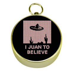 I Juan To Believe Ugly Holiday Christmas Black Background Gold Compasses