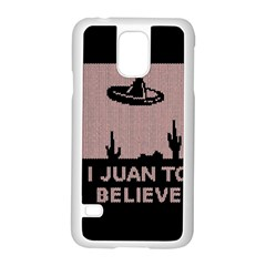 I Juan To Believe Ugly Holiday Christmas Black Background Samsung Galaxy S5 Case (White)