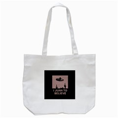 I Juan To Believe Ugly Holiday Christmas Black Background Tote Bag (white)