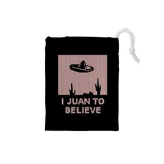 I Juan To Believe Ugly Holiday Christmas Black Background Drawstring Pouches (small)