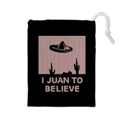 I Juan To Believe Ugly Holiday Christmas Black Background Drawstring Pouches (Large)