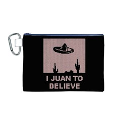 I Juan To Believe Ugly Holiday Christmas Black Background Canvas Cosmetic Bag (M)