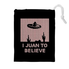 I Juan To Believe Ugly Holiday Christmas Black Background Drawstring Pouches (Extra Large)
