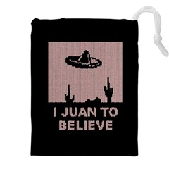 I Juan To Believe Ugly Holiday Christmas Black Background Drawstring Pouches (XXL)