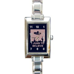 I Juan To Believe Ugly Holiday Christmas Blue Background Rectangle Italian Charm Watch